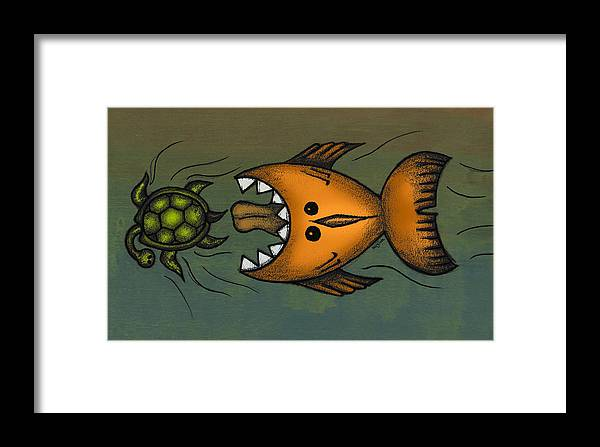 Fish Framed Print featuring the digital art Don't Look Back by Kelly Jade King