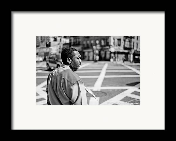 People Framed Print featuring the glass art Don't Walk. by Reinhard Lampano