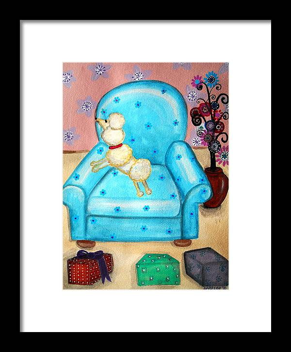 Poodle Framed Print featuring the painting Doodle Poodle by Pristine Cartera Turkus