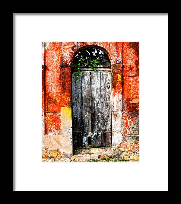Darian Day Framed Print featuring the photograph Door At The Red Corner By Darian Day by Mexicolors Art Photography
