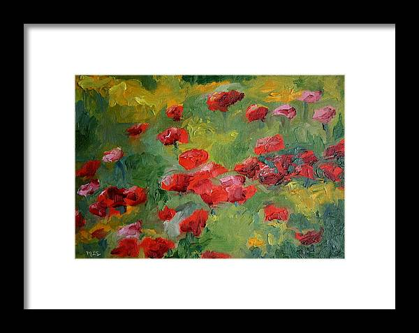 Landscape Framed Print featuring the painting Door County Poppies by Martha Layton Smith