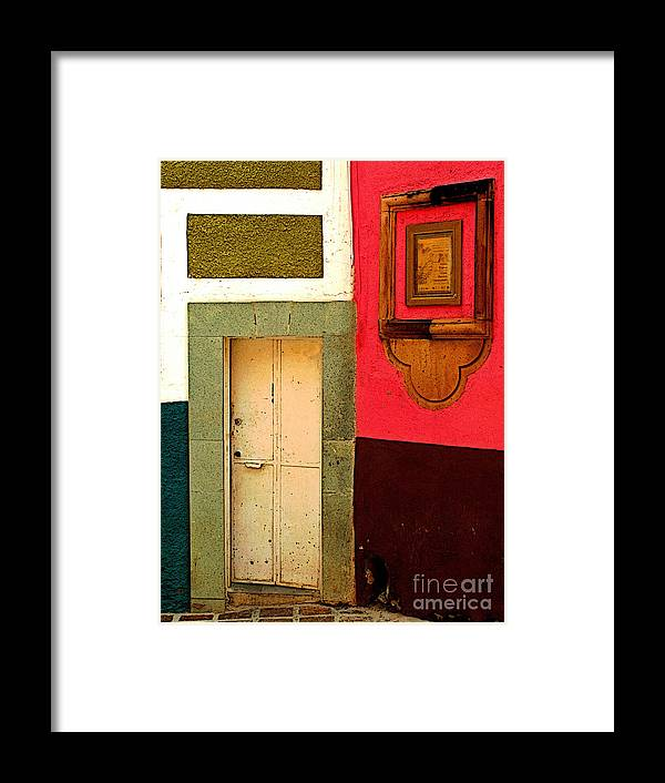 Darian Day Framed Print featuring the photograph Door Next To The Pink Wall by Mexicolors Art Photography