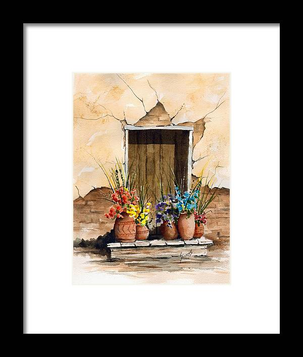 Door Framed Print featuring the painting Door With Flower Pots by Sam Sidders