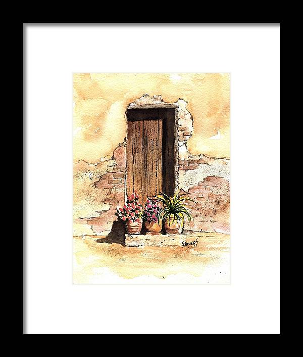 Door Framed Print featuring the painting Door With Flowers by Sam Sidders