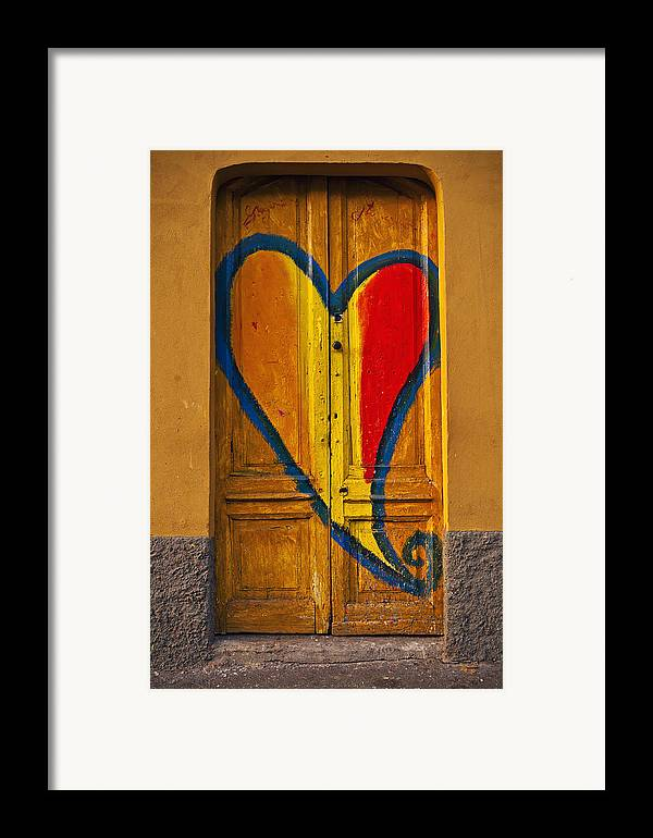 Door Framed Print featuring the photograph Door With Heart by Joana Kruse