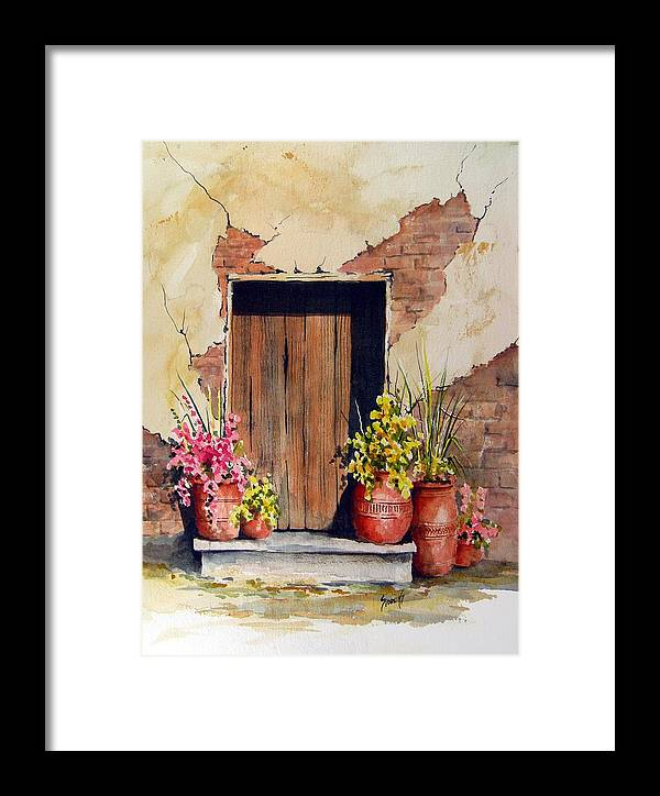 Flowers Framed Print featuring the painting Door With Pots by Sam Sidders