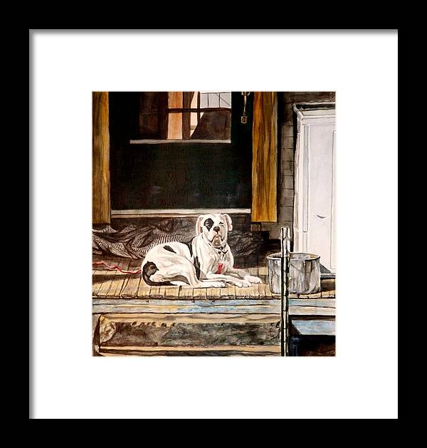 Animal Framed Print featuring the painting Doorkeep by Thomas Akers