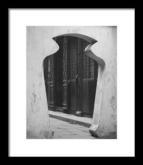 Doorway Framed Print featuring the photograph Doorway Black And White by Erika Lesnjak-Wenzel