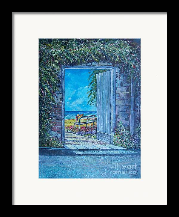 Original Painting Framed Print featuring the painting Doorway To ... by Sinisa Saratlic