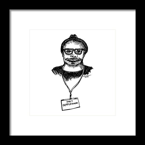 Drawing Framed Print featuring the drawing Doppleganger by Karl Addison