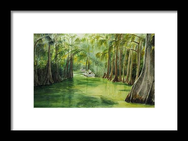 Passage Between Lakes Framed Print featuring the painting Dora Passage by Judy Swerlick