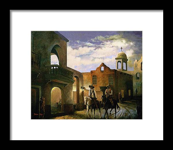 Texas New Mexico Cowboy Southwest 1800 Framed Print featuring the painting Dos Amigos by Donn Kay