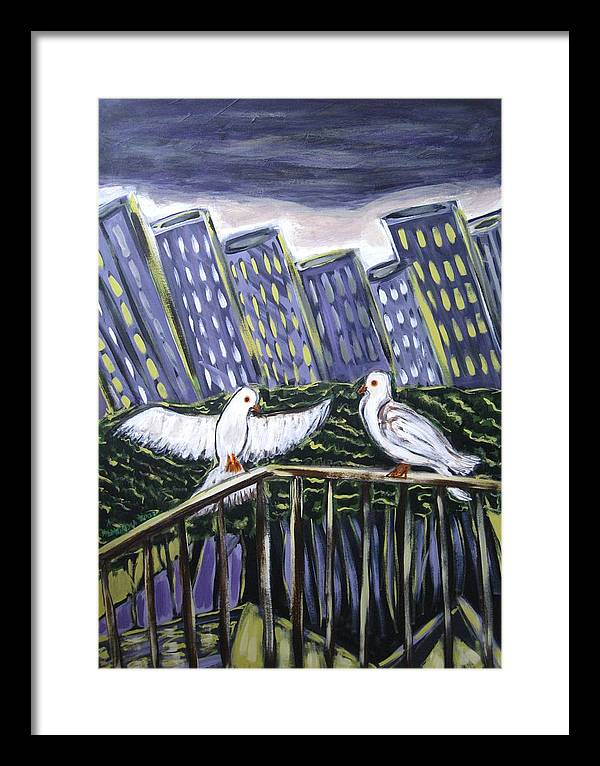 Animals Framed Print featuring the painting Dos Doves by Albert Almondia