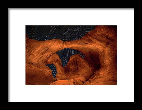 3scape Framed Print featuring the photograph Double Arch Star Trails by Adam Romanowicz