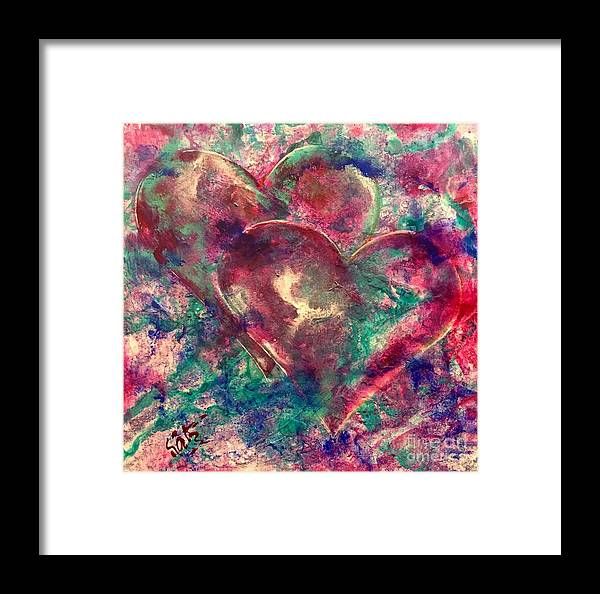 Hearts Framed Print featuring the painting Abstract Double Hearts by Kathy Linden