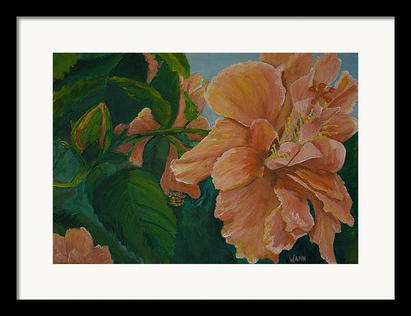 Flower Framed Print featuring the painting Double Hibiscus by Anita Wann