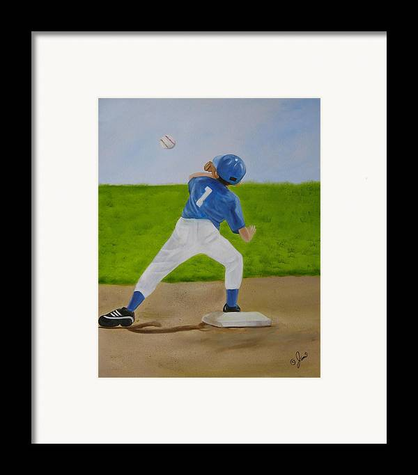 Sports Framed Print featuring the painting Double Play by Joni McPherson