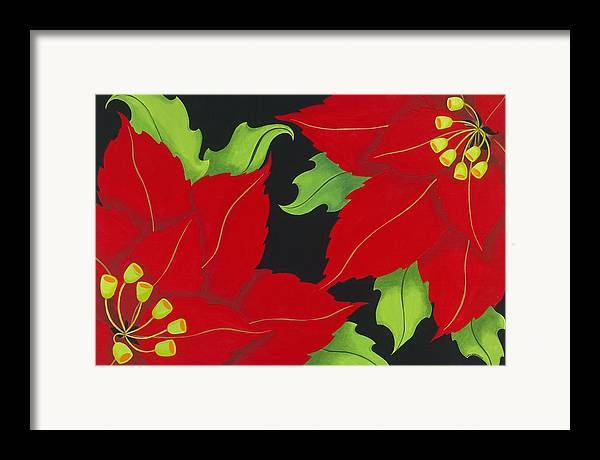 Acrylic Framed Print featuring the painting Double Red Poinsettias by Carol Sabo