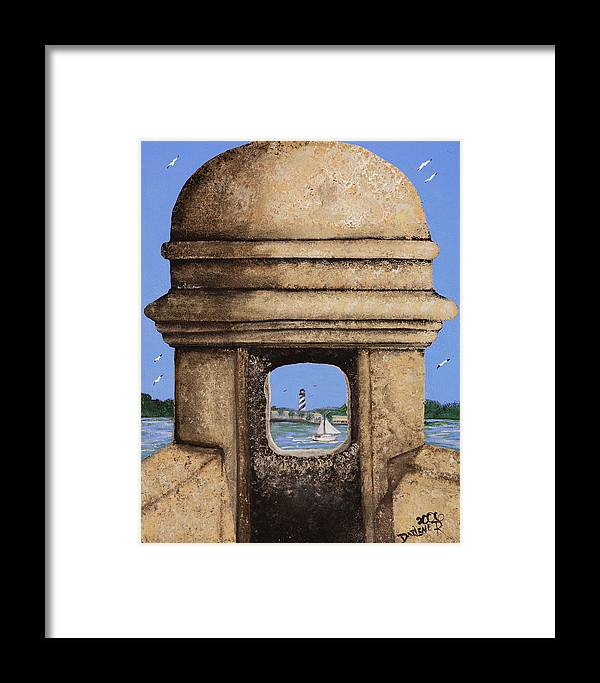 St. Augustine Lighthoue Framed Print featuring the painting Double Sentry by Darlene Green