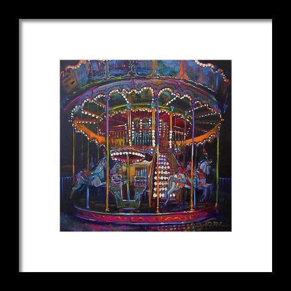 Merry-go-round Framed Print featuring the painting Double The Pleasure by BJ Lane