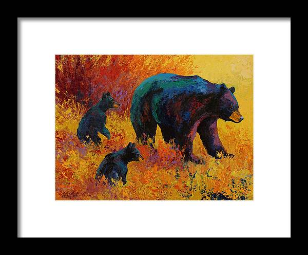 Bear Framed Print featuring the painting Double Trouble - Black Bear Family by Marion Rose