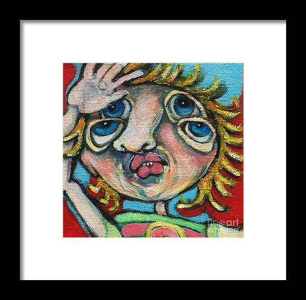 Circle Head Art Framed Print featuring the painting Double Vision by Michelle Spiziri