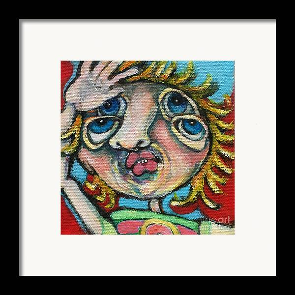 Ircle Head Art Framed Print featuring the painting Double Vision by Michelle Spiziri