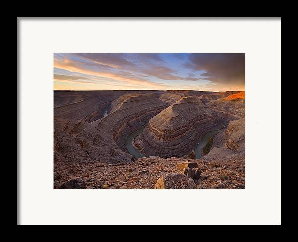 Goosenecks State Park Framed Print featuring the photograph Doubleback by Mike Dawson