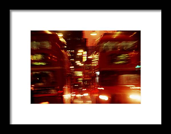 Bus Framed Print featuring the photograph Doubledecker Bus Blur London by Brad Rickerby