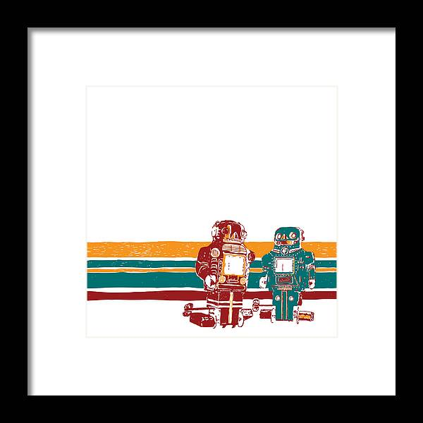 Drawing Framed Print featuring the drawing Doubotganger Robots by Karl Addison