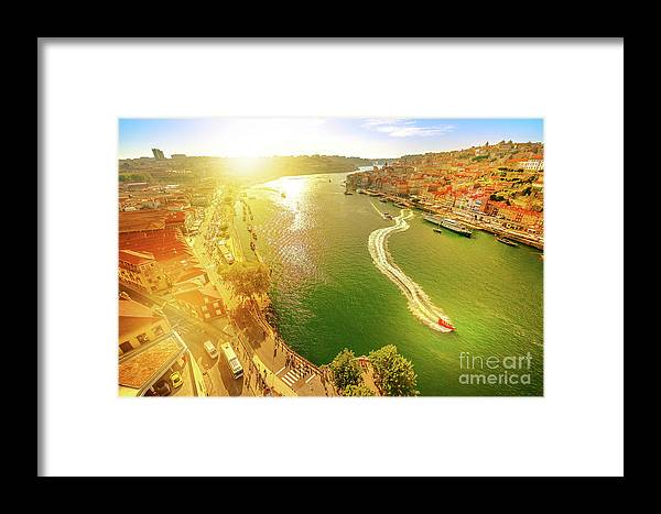 Oporto Framed Print featuring the photograph Douro River At Sunset by Benny Marty