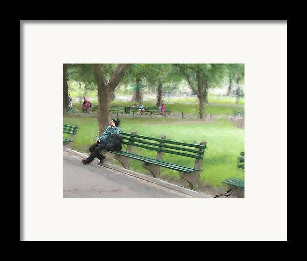 Boston Common Homeless Old Man Green Bench Park Framed Print featuring the painting Down But Not Out by Eddie Durrett