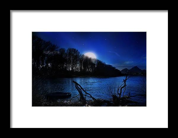 #fineart #art #photography #nightscape #night #nature #river Framed Print featuring the photograph Down By The River by Bernd Hau