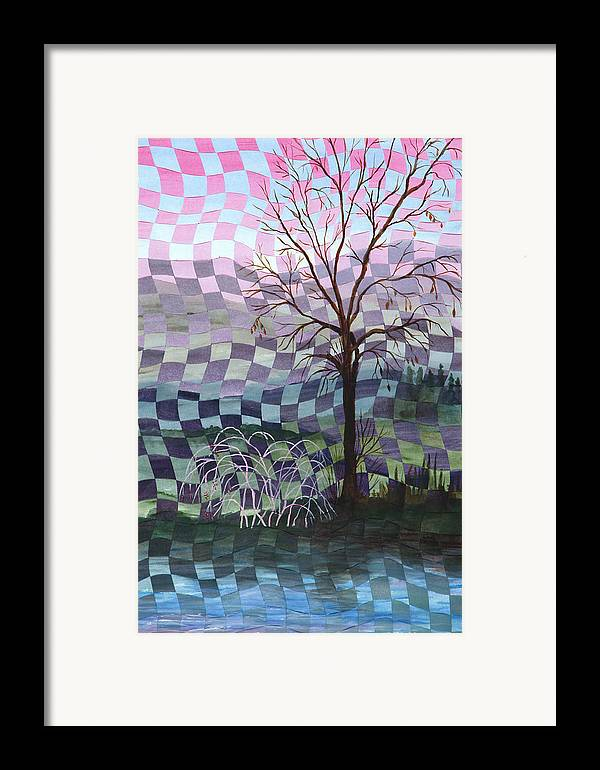 Tree Framed Print featuring the painting Down By The River by Linda L Doucette