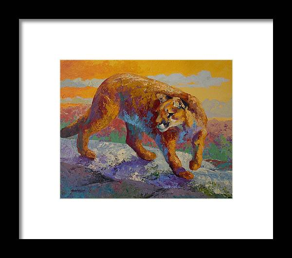 Mountain Lion Framed Print featuring the painting Down Off The Ridge - Cougar by Marion Rose