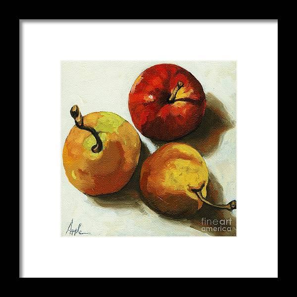 Fruit Framed Print featuring the painting Down on Fruit - pears and apple still life by Linda Apple