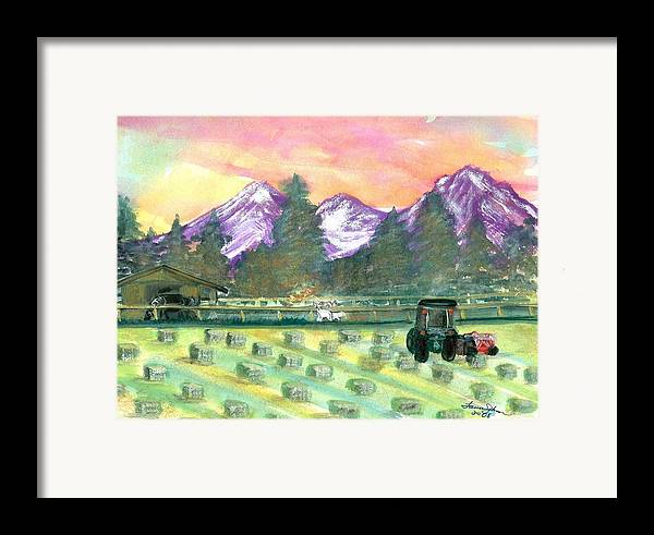 Farmscape Framed Print featuring the painting Down On The Farm by Laura Johnson