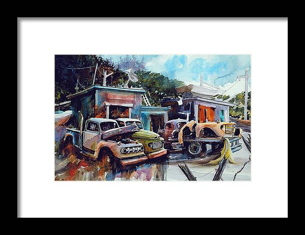 Trucks Framed Print featuring the painting Down on the Lower Road by Ron Morrison
