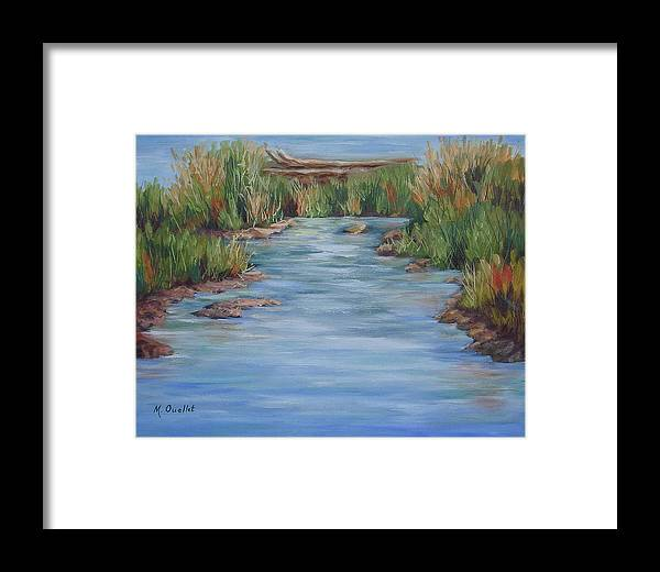 Landscape Framed Print featuring the painting Downstream by Maxine Ouellet