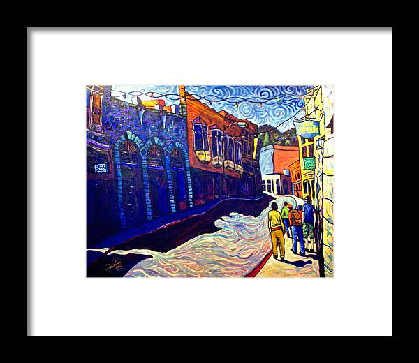 Downtown Framed Print featuring the painting Downtown Bisbee by Steve Lawton