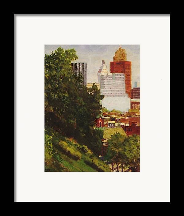 Cityscape Framed Print featuring the painting Downtown Cincinnati by Jonathan Carter