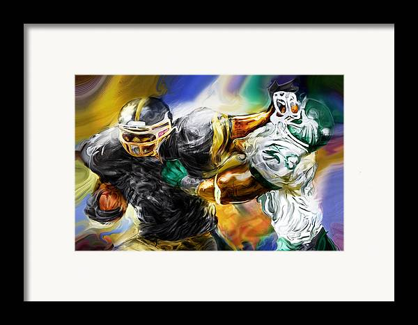 Football Framed Print featuring the painting Downtown Express by Mike Massengale