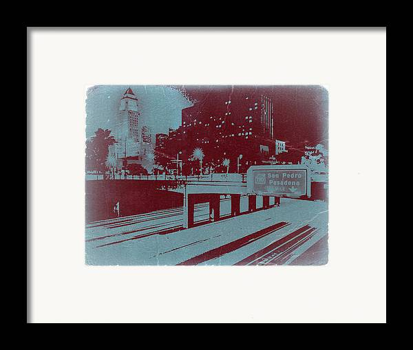 Framed Print featuring the photograph Downtown La by Naxart Studio