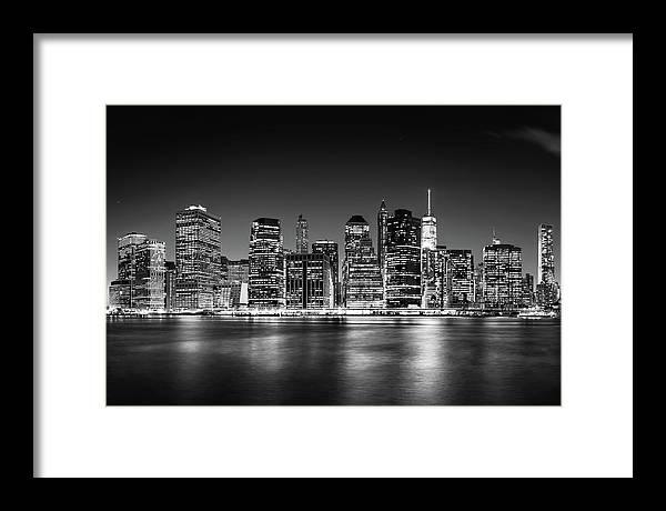 One World Trade Center Framed Print featuring the photograph Downtown Manhattan Bw by Az Jackson