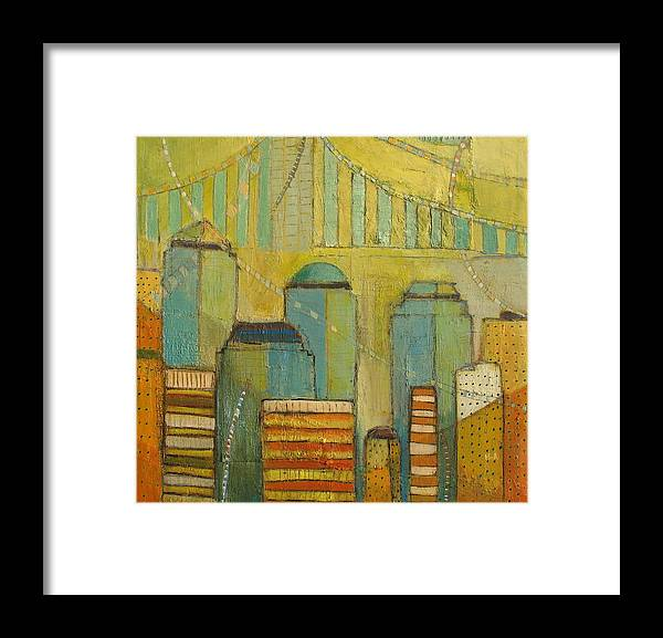 Abstract Colorful Cityscape Framed Print featuring the painting Downtown Manhattan by Habib Ayat