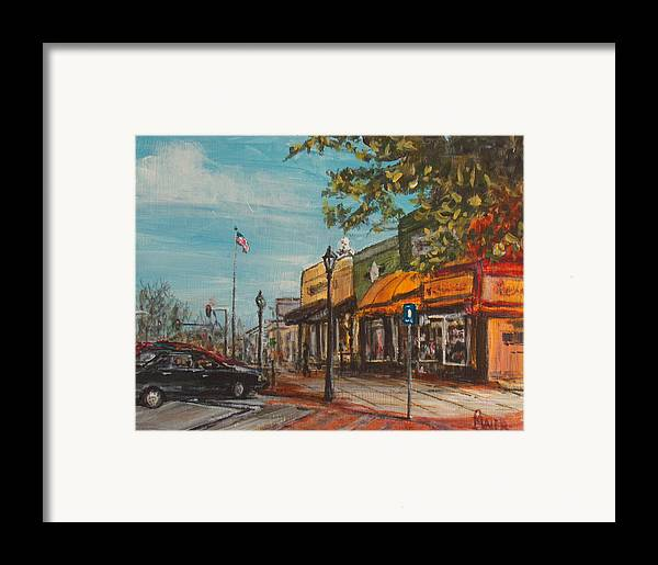 Cityscape Framed Print featuring the painting Downtown by Pete Maier