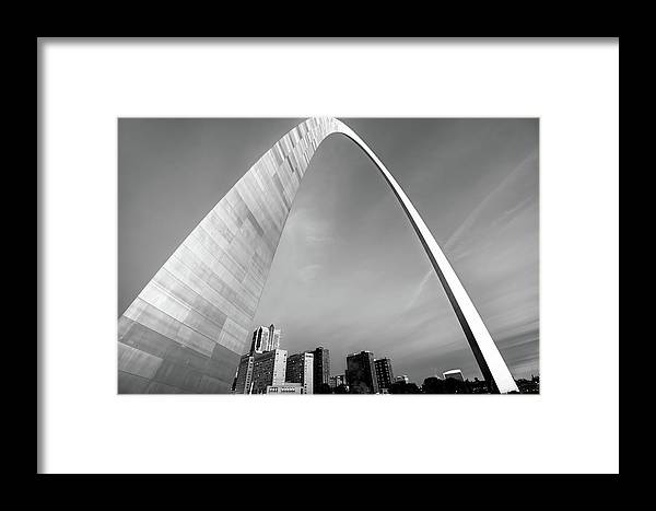 America Framed Print featuring the photograph Downtown Saint Louis Skyline Under The Arch - Black And White by Gregory Ballos