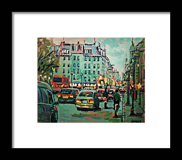 Landscape Framed Print featuring the painting Downtown Traffic by Brian Simons