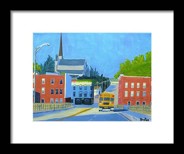 Landscape Framed Print featuring the painting Downtown With School Bus   by Laurie Breton