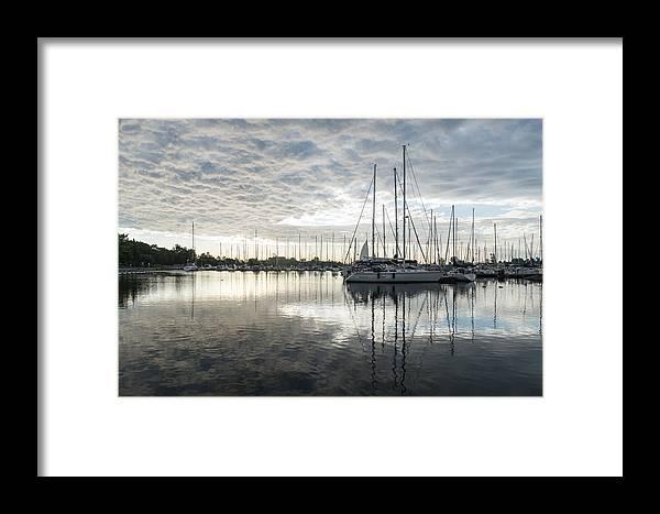Georgia Mizuleva Framed Print featuring the photograph Downy Soft Clouds At The Marina by Georgia Mizuleva